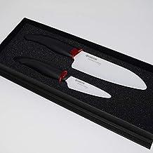 "Kyocera ""White Blade"" Gift Set with Santoku and Paring Knife, White/Black"