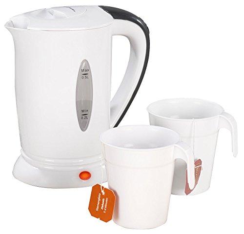 PEARL Reisewasserkocher: Reise-Wasserkocher mit 2 Bechern, 110/230 Volt, 650 Watt, 500 ml (Mini Wasserkocher)