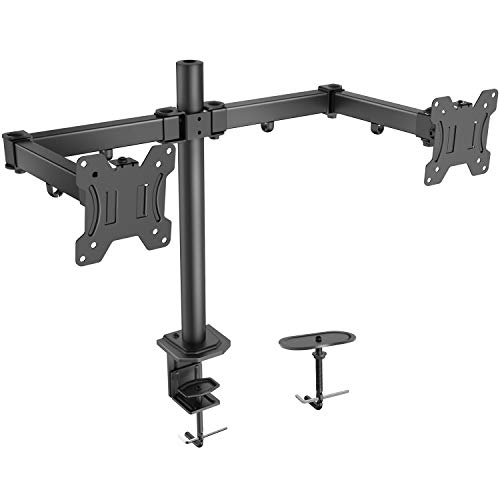 HUANUO Dual Monitor Arm PC Desk Mount Bracket - Height Adjustable with Tilt and Swivel - LCD LED Monitor Stand for Two 13-27