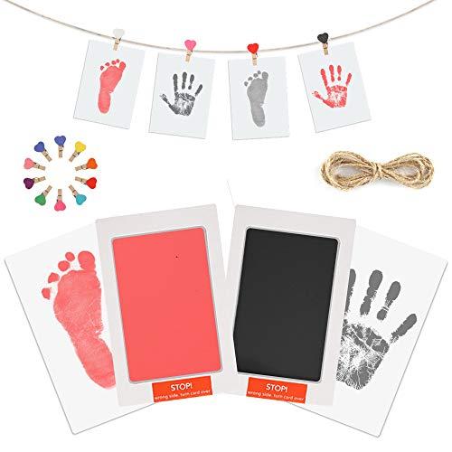 Baby Handabdruck Fußabdruck Set mit Stempelkissen, 4pcs Impressum Karten, 10pcs Holzklammern und Seil, 100% Safe für Neugeborene und Kleinkinder - Schwarz und rosa