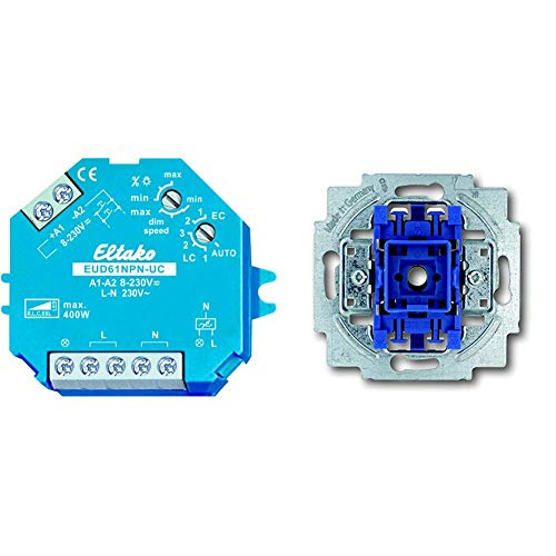 Busch-universal-licht (Eltako EUD61NPN-UC Universal-Dimmschalter & Busch-Jaeger 2020US Wipptaster (Schließer))