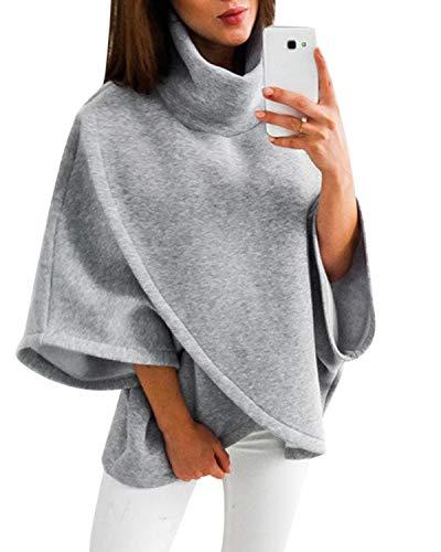 YOINS Damen Pullover Oberteil Poncho Winter Warm Asymmetrische für Damen Pulli Cardigan Sweatshirt Rollkragenpullover Langarm Grau S