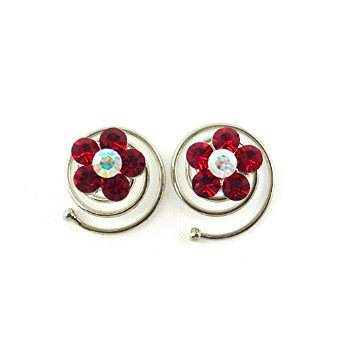 rougecaramel - Accessoires cheveux - Spirale à cheveux en cristal pour mariage 2pcs - rouge
