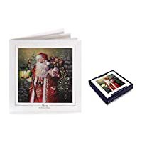 Tom Smith Deluxe Embossed Boxed Christmas Cards, Traditional Santa - Pack of 10
