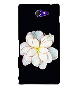 Fuson Premium 2D Back Case Cover White floral With black Background Degined For Sony Xperia M2 Dual D2302::Sony Xperia M2