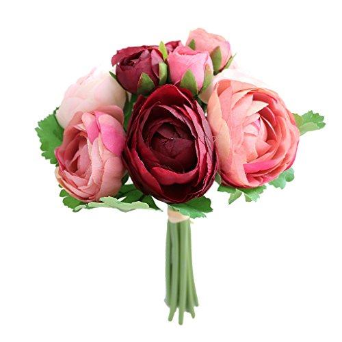 Sharplace Kamelien Blumenstrauß Hochzeit Bunte Künstliche Hochzeitsstrauß Rosen Seidenblumen Seidenrosen Kunstblumen Blumen Brautstrauß - Burgund, 15 x 15 x 24 cm (Brautsträuße Burgund)