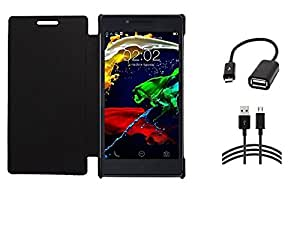 RealDealz Durable PU Leather Flip Cover For Lenovo P70 (Black)+MICRO OTG CABLE + DATA CABLE COMBO SET