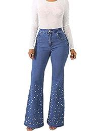RXF Micro-Cuerno Pantalones Vaqueros Largos Mujer Cintura Alta Perla con  Incrustaciones Rectos Pantalones Sueltos 68d461222f5
