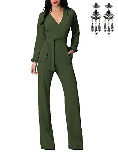 MODETREND Damen Jumpsuit mit Weitem Bein Hose V-Ausschnitt Locker Plus Größe Oversize Einteilig Suit Playsuit Body Anzug Grün M