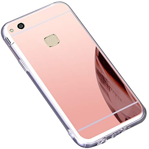 kompatibel mit Surakey Huawei P10 Lite Hülle,Schutzhülle Huawei P10 Lite Silikon Handyhülle Spiegel Hülle Bling Strass TPU Silikon Telefon-Kasten Mirror Case Cover für Huawei P10 Lite,Rose Gold - Aus Telefon-kästen Bling