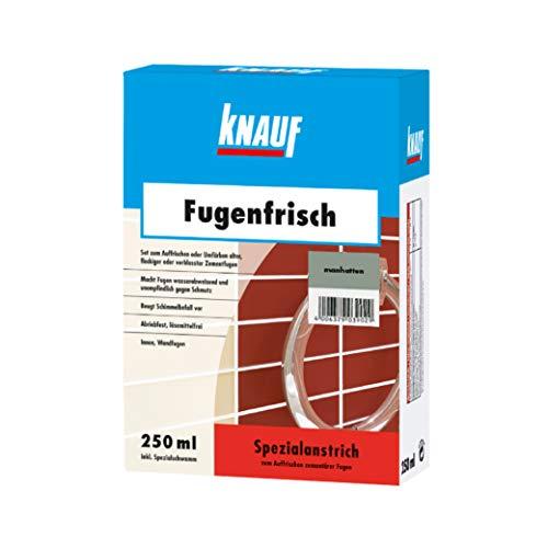 Knauf Fugen-Frisch zur Farb-Auffrischung alter Fugen - Spezialanstrich zum Auffrischen oder Färben verblasster Zement-Fugen: der Spezial-Reiniger beugt Schimmelpilz-Befall vor, Manhatten-Grau, 250-ml