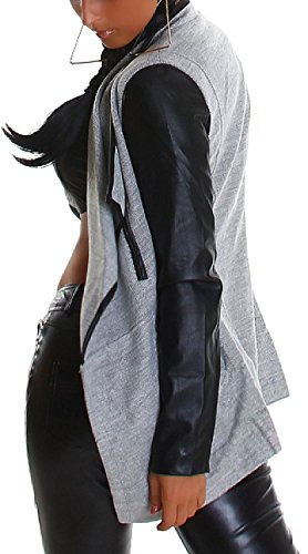 Voyelles Damen Cardigan Sommer-Jacke Umhang Biker Kunstlederärmel & Lederimitat am Revers (Gr. 34-40) Mélange Grey