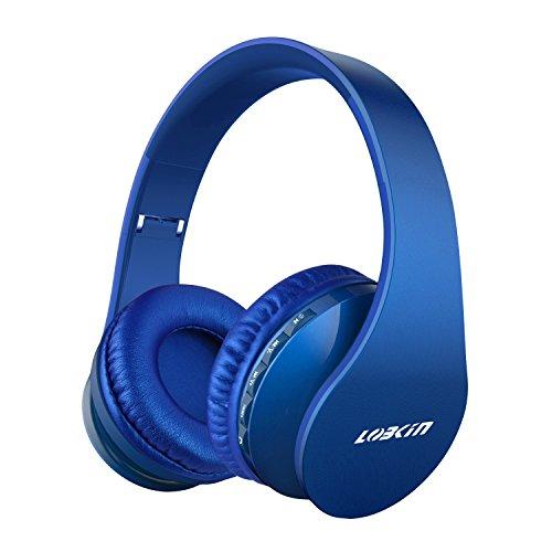 LOBKIN Cuffie Bluetooth Senza Fili Cuffia Wireless Pieghevole con Microfono, 4 in 1 Cuffie Over-ear Auricolari Stereo con Lettore MP3, Radio FM per Tablet, TV, PC (blue)