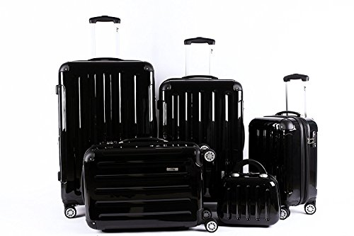 5 Teiliges Kofferset M L XL XXL + Beautycase Polycarbonat / ABS Trolley Koffer Bordcase Set Hartschale Reisekoffer Kofferset TSA Schloss (Schwarz) + Ersatz TSA...