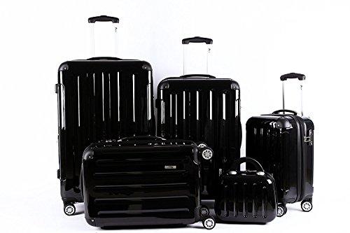 5 Teiliges Kofferset M L XL XXL + Beautycase Polycarbonat/ABS Trolley Koffer Bordcase Set Hartschale Reisekoffer Kofferset TSA Schloss (Schwarz)