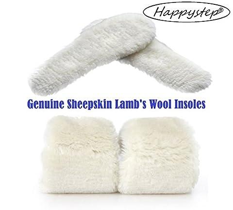 HappyStep® Hochwertige Einlagen aus echtem Schafleder, Einlagen aus Lammwolle und Filzeinlagen (Größe: F39 (Fuß Warm Einlegesohle)