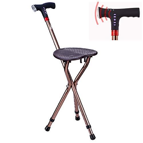 Einstellbare Klapp Gehstock Stuhl Hocker Massage Gehstock mit Sitz Tragbare Angel Rest Hocker mit LED-Licht -