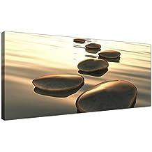 """Cuadro contemporáneo de Wallfillers® de piedras marrones abstractas, 120 x 50 cm, """"Kebdh"""", 1046"""