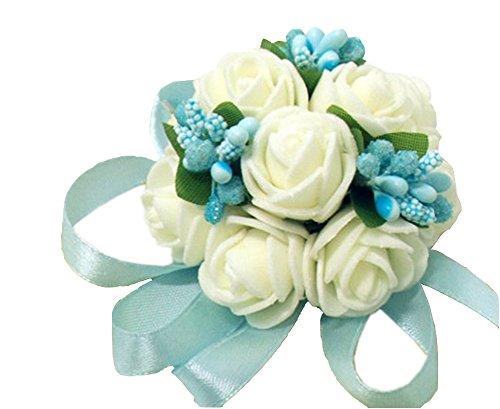 Westeng bouqet damigella d'onore vestito festa di nozze fiori polso, nastro decorativo con perle e perline, 1 pezzo, blue, 3.5cm * 6cm