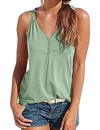 538cccf94024 BaZhaHei Canotta Donna con Pulsante Sexy Eleganti Fionda Vest Tank Moda  Casuale T-Shirt Tumblr