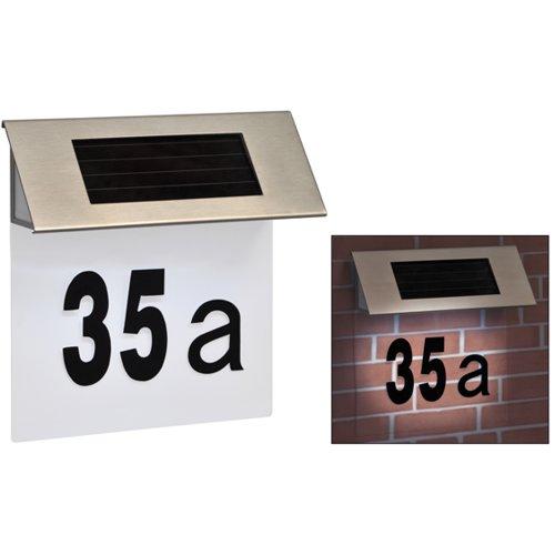 Solar-Hausnummer aus Edelstahl, Nummernschild - transparent, 19x18,5cm