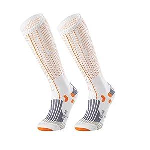 Uonlytech Unisex Long Sport Socks Sports Compression Socks Long Leg Socks for Running Athletic Sports Hiking Flight Travel (Orange White for 42-44 Yard)