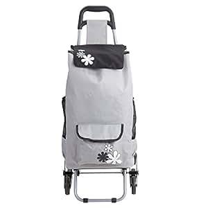 chariot de course isotherme 6 roues gris avec motif fleur. Black Bedroom Furniture Sets. Home Design Ideas