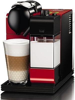 DeLonghi Lattissima Plus EN 521.R - Cafetera de monodosis (19 bares, preparación automática de Cappuccino, apagado automático programable), negro y rojo