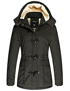 Wantdo Women's Winter Thicken Jacket Cotton Coat with Removable Hood