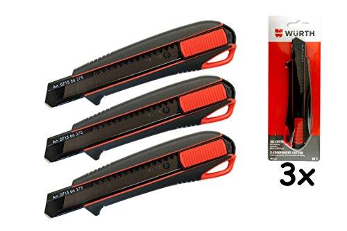 Preisvergleich Produktbild Würth 3x 2K Cutter-Messer mit Schieber incl. 3 Klingen