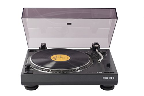 NIKKEI NTT05U - Platenspieler mit USB - Record Player | aufnahmeplayer | digitalisieren Sie alte Aufzeichnungen in MP3 Riemenantrieb + Audio Technica Turntable | 33/45 TPM | 230V-50Hz | Schwarz (Plattenspieler Player Record)