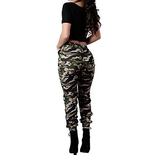 UFACE Damen damen Casual Camouflage Hose Dünne Camo Hose Militär Armee Elastische Taille Tanz Cargo Jogger Sweatpants Coole Straßenhose -