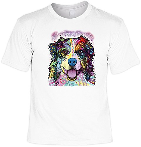 Hunde T-Shirt Dog Motiv Hundesport Dogs Sport T-Shirt: Australian Shepherd Laiberl für Hundefreunde Neon Hunde Aufdruck Hundefreund Weiß
