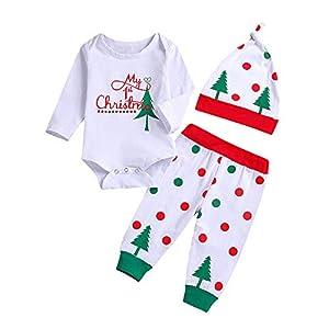 Huihong Neugeborenes Baby Mädchen Brief Drucken Overall Strampler + Weihnachtsbaum Drucken Hosen + Hut 3 Pcs Kleidung…