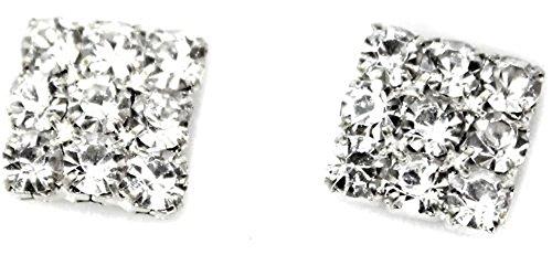 Piedras imitación de Diamante de cristal cuadrado cierre magnético a presión de tuerca para hombre Juego de Pendientes de mujer para niños Unisex