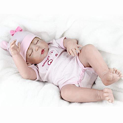 XISTORE - Muñeca de bebé para niñas de 55 cm de Cuerpo Completo de Silicona, Suave, magnética, para recién Nacido, Bonito Juguete para Dormir con Ojos Cerrados