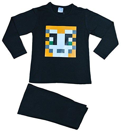 n Jungen Mädchen stampylongnose Schlafanzug Pixel 7–12Jahre Stampy Pyjama, Stampylongnose, Schwarz (Minecraft Creeper Kostüm Für Kinder)
