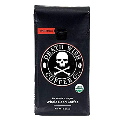 Death Wish Whole Bean Coffee, The World's Strongest Coffee, Fair Trade and USDA Certified Organic from Death Wish Coffee Co.