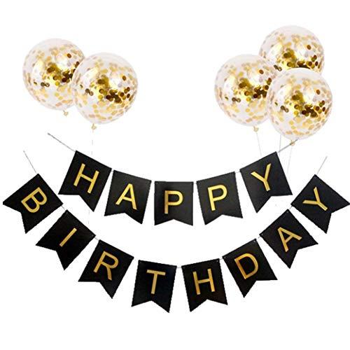 Bongles Set Geburtstag Dekoration Papier Hot Stamping Flaggen-Fahnen-Flaggen-Geburtstags-Brief Hanging Supplies Schwalbenschwanz Flagge Pailletten Ballon-Party -