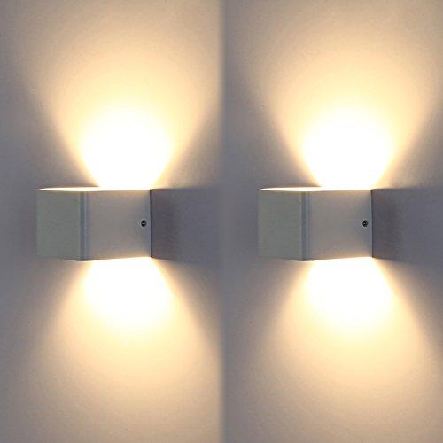 Topmo 2 pezzi 7 W LED luci da parete bianco lampade da parete di alta qualità in alluminio corridoio proiettore Up e Down Design 2700 K luce bianco caldo