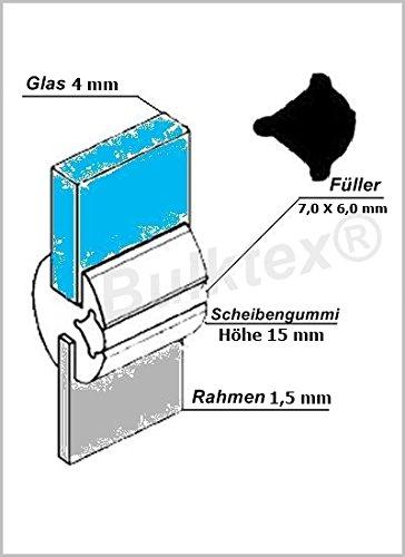 Preisvergleich Produktbild Original Bulktex® Profilgummi Fensterdichtung Vollgummi Scheibengummi 4 mm / 1, 5 mm Höhe 15 mm Breite 13, 6 mm für Oldtimer - Wohnanhänger - Camping - Wohnmobile – Traktoren – Landmaschinen - Boote – Sportboote – Yachten - Nutzfahrzeugbau – Baufahrzeuge - Auto – Kfz – Pferdeanhänger – LKW - Traktoren – Pferdeboxen – Fahrzeugbau - usw...