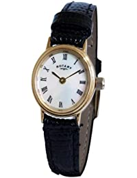 Rotary Women's Quartz Watch with Mother of Pearl Dial Analogue Display and Black Leather Strap LS00471/07