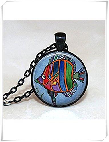 Glass Tile Halskette, Fisch Halskette, Glass Tile Schmuck, Fisch Schmuck, Sea Life Halskette, Dome Glas Schmuck, Pure handgefertigt