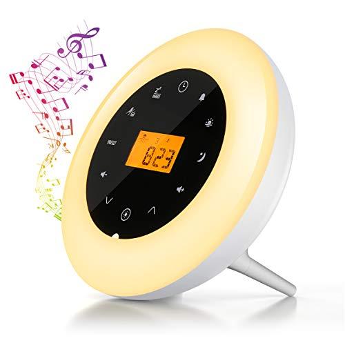Elfeland Lichtwecker Wake Up Light Tageslichtwecker LED Nachtlicht Sonnenaufgangfunktion,FM-Radio,Audio-Verbindungsfunktion, Snooze Funktion,7 Auto Farben,8 natürliche Töne Ideal für Haus,Geschenk