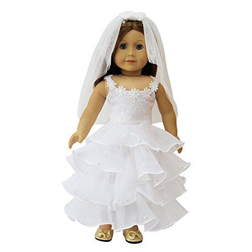 ZITA ELEMENT Set Hochzeitskleid Brautkleid Brautschleier für 43cm 45-46cm Babypuppe und American 17/18 Zoll Girl Doll Abendkleid Spitze Puppen Kleidung Kleider Ballkleid Bekleidung Puppenzubehör (Kleider Für American Girl-puppen)