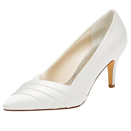 Scarpe da donna raso primavera estate comfort tacco basso a punta punta a punta sposa scarpe da sposa damigella d'onore strass ruffles suola in gomma,eu37