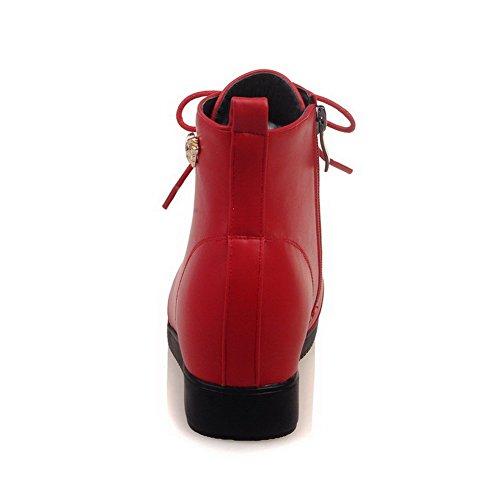 VogueZone009 Donna Cerniera Punta Tonda Tacco Basso Bassa Altezza Stivali con Metallo Rosso