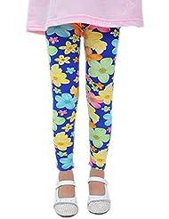 Fashion Leggings Pantalon pour les petites filles bleu motif fleurs 4–5x
