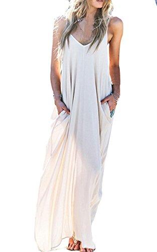 online store e6868 c5d85 Zearo Donna Sexy Vestito Lungo Elegante Bianco Festa ...