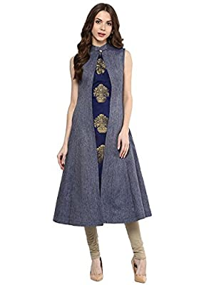 Lilaba Fashion with device of girl Women's Exclusive Casual Blue Denim A-Line Long Kurti